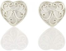 Tulola Vintage Heart White Platinum on Silver Studs