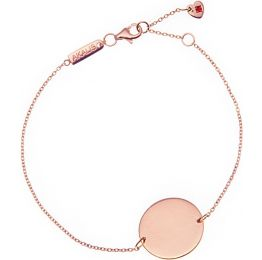 AKALiS Engravable Rose Gold Single Disc Pendant Bracelet