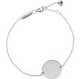 AKALiS Engravable Single Disc Silver Pendant Bracelet