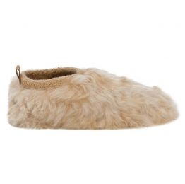Almond Satin Low Rider Fur Slippers