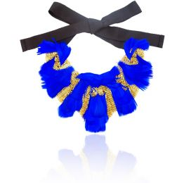 Anas Cobalt Blue Feather Embellished Necklace