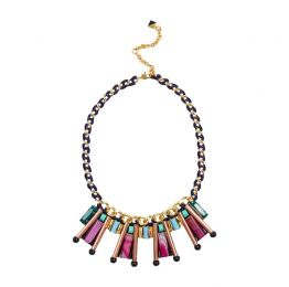 NOCTURNE Ari Pink Multicolour Adjustable Bib Necklace