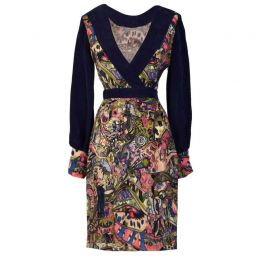 ARIA Hand-painted print midi dress