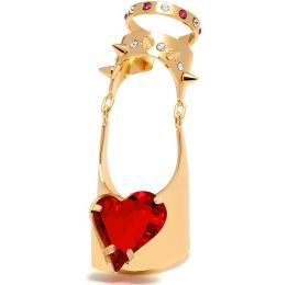 Articulated Heart Swarovski Crystal Ring Maria Francesca Pepe