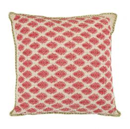 Artisan Hand Loomed Cotton Square Pillow - Red with Green Stitching