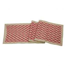 Artisan Hand Loomed Cotton Table Runner - Red with Green Stitching
