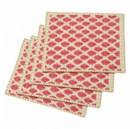Artisan Hand Loomed Place Mat - Red with Green Stitching