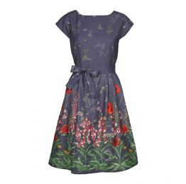 Beatrice Cap - Indigo Wildflowers Dress | Cotton - Linen Blend