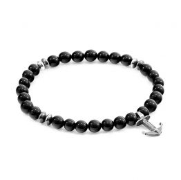 Black Onyx Starboard Silver and Stone Bracelet | ANCHOR AND CREW