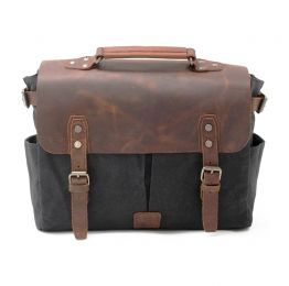 Waxed Canvas Messenger Bag With DSLR Camera Sleeve