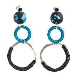 Blue Resin Silver Plated Earrings