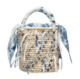 Blue Weaved Fabric Palm Bucket Bag