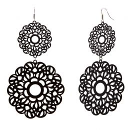 POTC Jewellery - Black Brass Lacework Double Disc Earrings