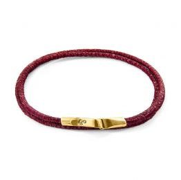 Bordeaux Red Liverpool 9ct Yellow Gold and Stingray Leather Bracelet | ANCHOR AND CREW