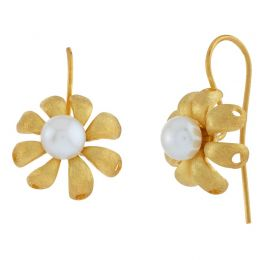 POTC Jewellery - Botanical Daisy Pearl Hook Earrings