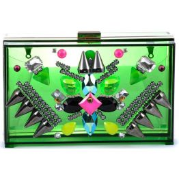 Bottle Green Perspex Embellished Clutch by SkinnyDip London