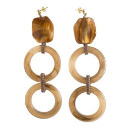 Brown Circles Resin Gold Plated Earrings
