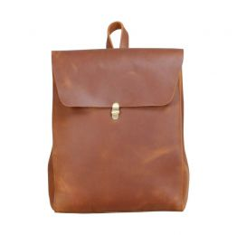 Minimalist Worn Look Genuine Grain Leather Backpack for Ladies