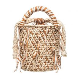 Brown Weaved Fabric Palm Bucket Bag
