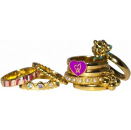 Candy Heart Stacked Rings (set of 8 pcs.) by Manish Arora for Amrapali Collaboration