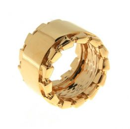 Chain Link Accent Band 14K Gold Statement Ring | SiammPatra
