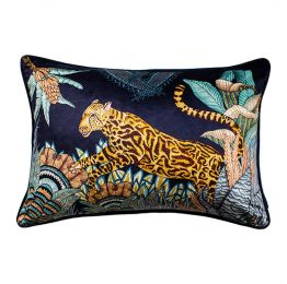 Cheetah Kings Forest Tanzanite Velvet Cushion Cover with Piping