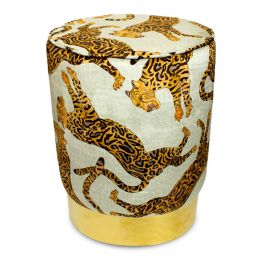 Cheetah Kings Stone Velvet Pouffe