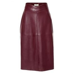 Chiara Malaga Wine Vegan Leather Skirt