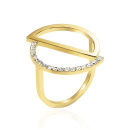 14k Gold Asymmetric Cricle Ring | OSYLIA London