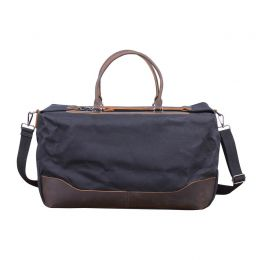 Classic Vintage Look Waxed Canvas And Leather Holdall