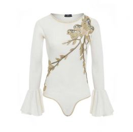 CLAUDIA Embellished bodysuit with fluted sleeves