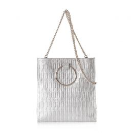 Convertible Mini Loop Tote in Silver Embossed Leather