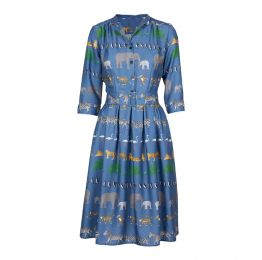 Cynthia - Blue Walking Zoo Dress | Tencel