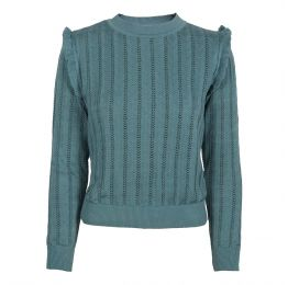 Diana - Mineral Blue Ruffle Knitted Top
