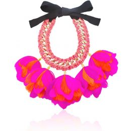 Falco Hot Pink and Orange Feather Necklace