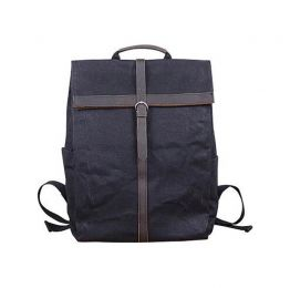 Fold Top Waxed Canvas Leather Laptop Backpack
