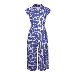Francesca - Blue Cave Jumpsuit | Cotton - Linen Blend