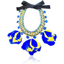 Gallus Blue and Yellow Feather and Crystal Necklace