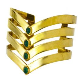 Isabel Englebert Gladiator Pure Cuff Emeralds and Gold