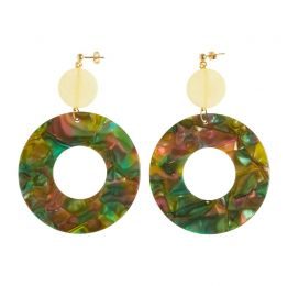 Green and Yellow Resin Earrings