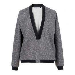 Grey and White Mélange Stretch Jersey Sweater