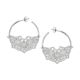 Half Moon Mandala Hoop Silver Earrings | Lucy Ashton
