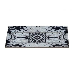 Handmade Reverse Painted Mirror Tray with Beveled Edge in Midnight - Small