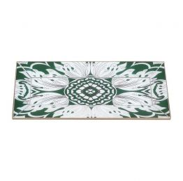 Handmade Reverse Painted Mirror Tray with Beveled Edge in Pine Green - Small