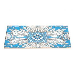 Handmade Reverse Painted Mirror Tray with Beveled Edge in Sky Blue - Small