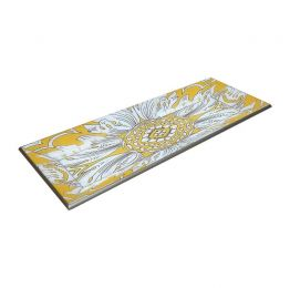 Handmade Reverse Painted Mirror Tray with Beveled Edge in Yellow - Small