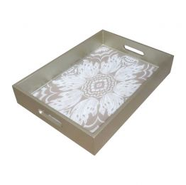 Handmade Reverse Painted Mirror Tray with Beveled Edge in Beige and Silver - Small