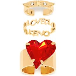 Heart and Gold Midi Ring Set