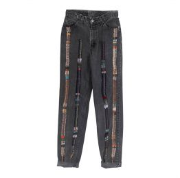 High Waisted Recycled Stripe Wool Black Denim Jeans