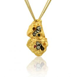 Imogen Belfiled Honeycomb Emerald Blue Sapphire and Rubies Nugget Pendant Necklace